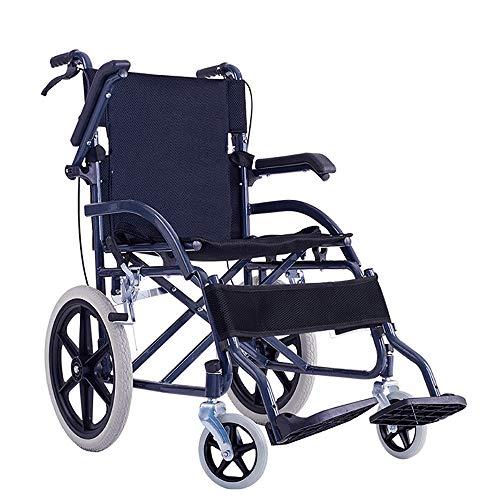 YH-LY Rollstuhl, ultraleichter Faltbarer Rollstuhl 11 kg tragbarer Reiserollstuhl, schnell zusammenklappbar und Vollgummireifen, geeignet für ältere behinderte Roller.