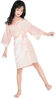 Toddler Baby Kids Girls Fashion Silk Satin Kimono Robes Bathrobe Sleepwear Belt Nightgown Clothes Toddler Bathrobe