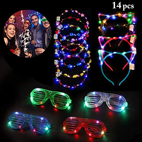 Outgeek 14 pcs LED Light Up Toys, 6 Led Flower Crowns Wreath,4 LED Cat Ears Headband,4 Light Up Glasses Glow in The Dark Party Accessories Party Supplies Favors 2021 New Year for Kid Adults