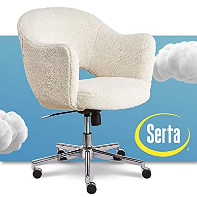 Serta Valetta Upholstered Home Office Desk Modern Swivel Accent Chair, Memory Foam Seating, Cream Fuzzy Faux Fur from Millwork Holdings
