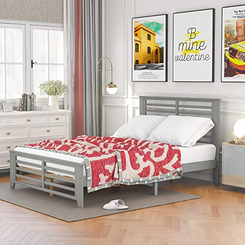 Full Bed Frames, Full Size Wood Platform Bed with Headboard & Footboard, No Box Spring Needed (Grey, Full)