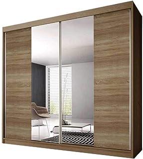 E-MEUBLES Armoire de Chambre avec 2 Portes coulissantes | Penderie (tringles) avec étagères (LxHxP): 233x218x61 Ben 36 (So...