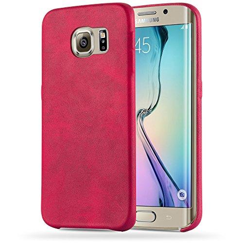 Preisvergleich Produktbild Cadorabo Hülle für Samsung Galaxy S6 Edge - Hülle in Vintage ROT Hardcase Handyhülle Schutzhülle aus Kunstleder - Schutzhülle Bumper Back Case Cover