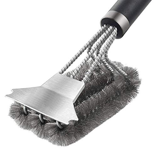 LIZHOUMIL - Cepillo y raspador para parrilla, 3 en 1, cepillo de limpieza para barbacoa, cepillos para parrilla de barbacoa, accesorios de cocción para barbacoa de gas, carbón de madera