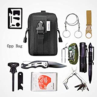 Everyday emergency bug out kit including gear such as bracelets, knifes, water holder, and military molle pouches. Use for backpacking, bugout, search and rescue, geocaching, or apocalypse survival.