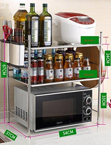 JJJJD Cucina Forno a microonde Rack Stand Armadietto da Cucina e da banco Scaffale Organizzatore, in Acciaio Inox a Doppio Piano Fornello di Riso Rack da Forno Portaspezie (Size : 54cm-B)