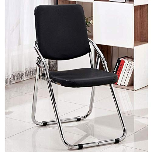 XYSQWZ Office Chair, Leather Steel Feet Folding Conference Room Training Chair Home Simple Backrest Chair Computer Chair (Color : Black)
