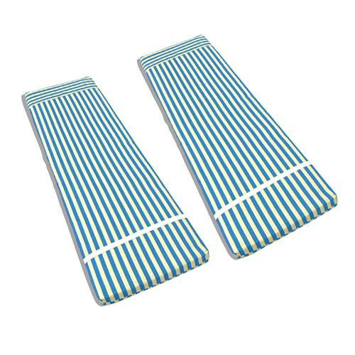 TIENDA EURASIA® Pack 2 Cojines para Tumbona Exterior de Jardin - Colchoneta 180 x 55 x 8 cm - Funda de Tela y Relleno de Fibra (Azul Celeste / Beige)