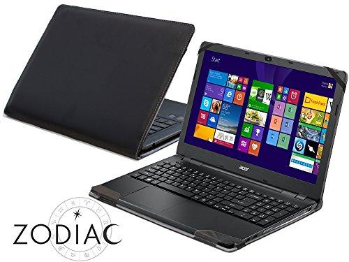 Navitech Schwarzes Echtleder Case Cover Tasche Skin für das Acer Extensa 15