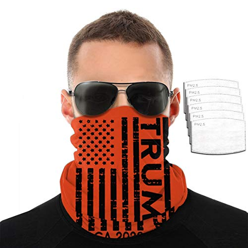 Neck Gaiter Mask for Women Fitness Bandana for Men Balaclava with Carbon Filters, Dustproof UV Protection Face Cover for Hot Summer,American Flag