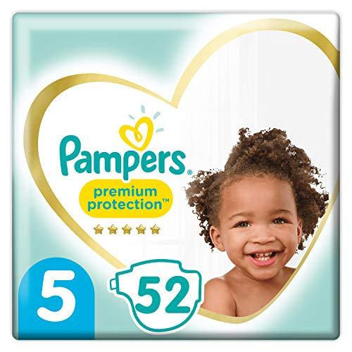 Pampers Premium Protection - Pañales (talla 5, 52 unidades, 11-16 kg, 2 unidades de 1,680 kg)