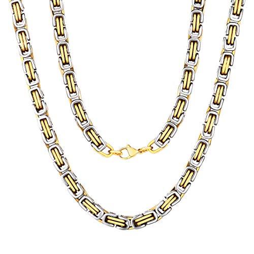 ChainsPro 4 mm / 6 mm placcato in oro 18 carati su solido bizantino italiano, gabbia per uccelli, nido d'uccello, collana a catena a treccia del re con chiusura a moschettone - 18 20 22 24 26 28 30 ''