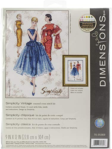 Dimensions 'Simplicity Vintage' Counted Cross Stitch Kit, 14 Count White Aida Cloth, 9'' x 12''