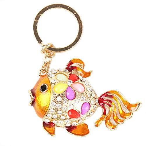 Gold Fish Lovely Tail Flower Cute Crystal Charm Purse Handbag Car Key Keyring Keychain Party Creative Birthday Gift