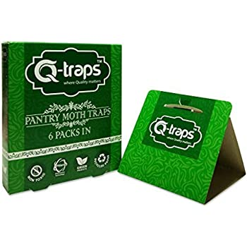 Q-Traps Pantry Moth Traps - Safe, Nontoxic, Insecticide & Odor Free, Pheromone Attractant Traps for Common Kitchen Moths (6 Traps)