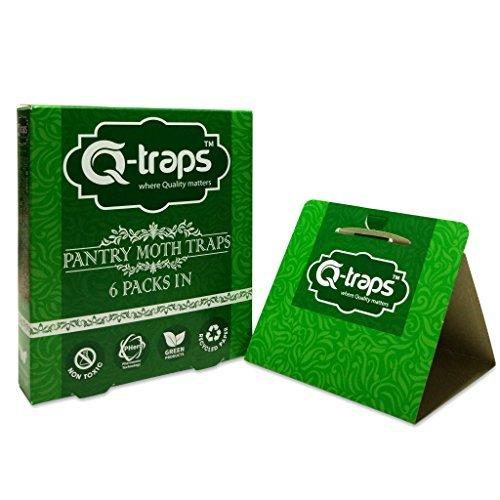 Q-Traps Pantry Moth Traps - Safe, Nontoxic, Insecticide & Odor Free, Pheromone Attractant Traps for Common Kitchen Moths (6 Traps)