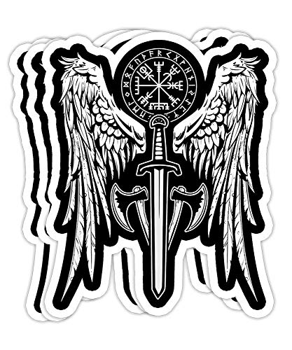 Womens Viking Valhalla Valkyrie Wings Norse Mythology Gift Decorations - 4x3 Vinyl Stickers, Laptop Decal, Water Bottle Sticker (Set of 3)
