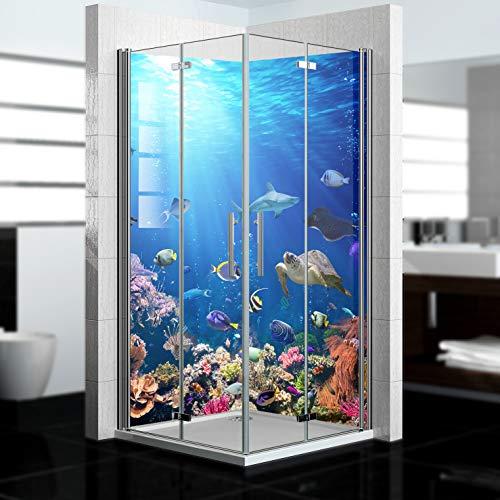 dedeco Alu Eck-Duschrückwand mit Ozean V2 Motiv - 2 x 90x200 cm - Perfekt als Badrückwand zum Fliesenersatz, passend für viele Bäder - Made in Germany