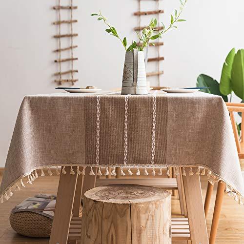 Pahajim Tischdecke Quaste Baumwolle Leinen Elegante Tischdecke waschbare Küchentischabdeckung für Speisetisch (Troddeln Braun, Rechteckig/Oval, 140 x 220 cm, 6-8 sitzes)