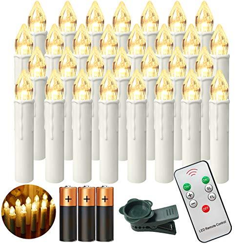 Aufun LED Weihnachtskerzen mit Fernbedienung 30 Stück Kabellos Kerzen mit Batterien Outdoor Weinachten für Weihnachtsbaum, Weihnachtsdeko, Hochzeitsdeko, Party, Feiertag, Warmweiß
