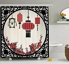 Lantern Decor Shower Curtain Set, Lanterns with Japanese Sakura Cherry Blossom Trees and Round Ornate Figure Graphic, Bath...