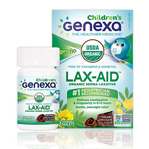 Genexa Lax-Aid for Children Laxative: Certified Organic, Free of Dyes & Talc, Safe, Non-GMO Verified, Vegan. Gentle, Overnight Relief, Relieves Constipation & Irregularity (50 Chewable Tablets)