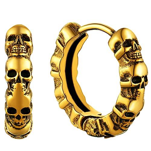 ChainsHouse - Pendientes de calavera para hombre, punk, para niño, mujer, colgante fantasma de acero inoxidable, diseño de calavera,