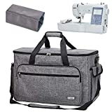 HOMEST Sewing and Embroidery Machine Carrying Case, Universal Tote Bag with Shoulder Strap for Brother SE600, PE535, Multifunctional - Large Capacity, Grey