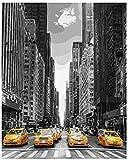 Amnogu Puzzles Jigsaw Puzzle 1000 Piezas 3D Puzzle New York Yellow Taxi Cabs Kits para Adultos DIY 75X50Cm