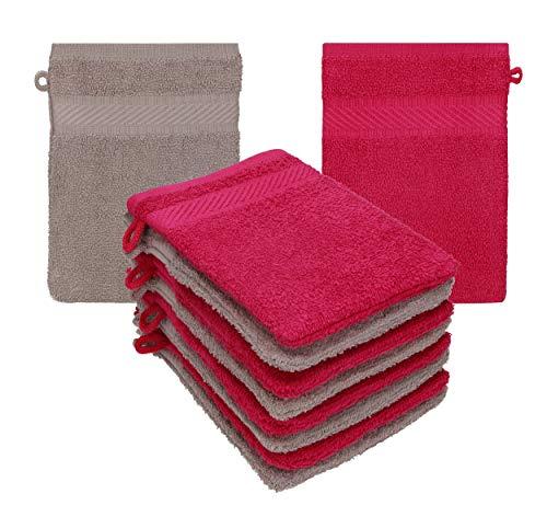 Betz 10 Stück Waschhandschuhe Frottee Waschhandschuh Palermo 100% Baumwolle Waschlappen Set Größe 16 x 21 cm Farbe Cranberry - Stone