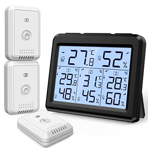 Brifit Digitales Thermometer Hygrometer, Innen und Außen Raumthermometer mit 3 Außensensor, Thermometer Innen Außen mit Hintergrundbeleuchtung, Max/Min Anzeige, ℃/℉ Schalter, Ideal für Büro, Zuhause