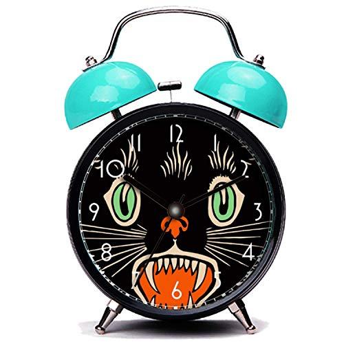 girlsight Blauer Wecker, Nette Katze Vintage Halloween Scared Schwarze Katze Twin Bell Wecker mit Nachtlicht