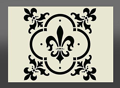 Plantilla de 'Flor de Lis' diseño vintage de Mylar, A4 297mm x 210mm, decorativo para pintar con spry, esponja...