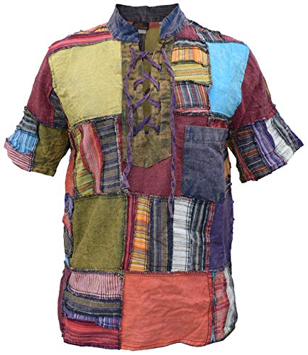 Overlock Patchwork colorido desgastado Festival Hippy Lace Up Grandad Collar Manga Corta -  Multicolor -  XX-Large