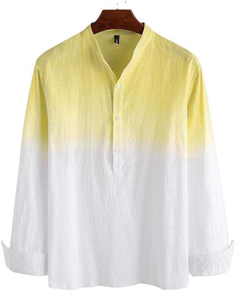 PAODIKUAI Men's Color Block Long Sleeve Henley Shirt Cotton Linen Casual Button Down Shirts
