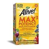 Nature's Way Alive! Max3 Potency Multivitamin, High Potency B-Vitamins, No Iron, 90 Tablets
