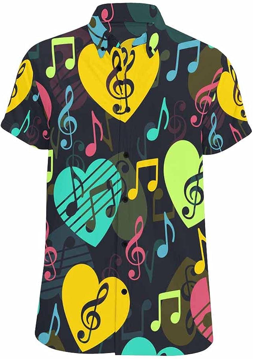 InterestPrint Love Music Hawaiian Beach Shirt Button Down Relax Casual Shirts for Men