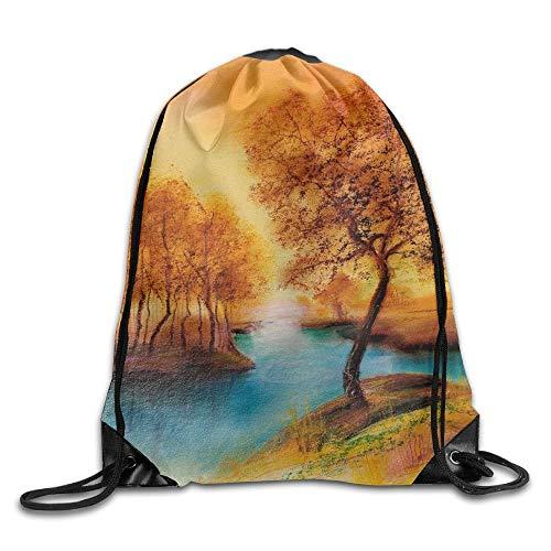 EU Landschaftszeichnung Liebe Kordelzug Taschen Tragbarer Rucksack Reisesport Sporttasche Yoga Runner Daypack Schuhbeutel