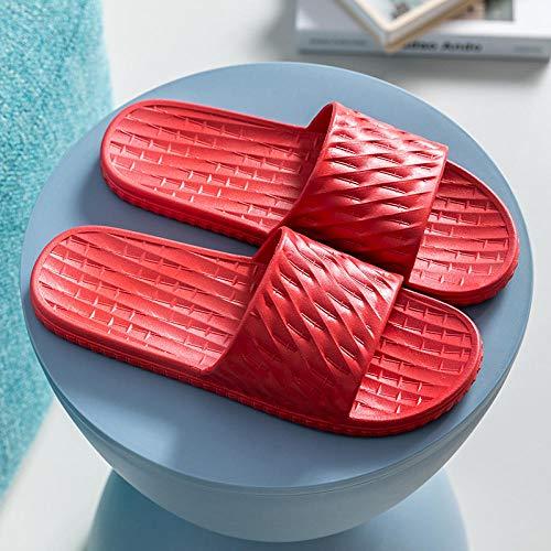 TDYSDYN de baño para el hogar Zapatillas,Pareja de Sandalias y Zapatillas de Suela Blanda para Mujer, Zapatillas de baño Antideslizantes para Hombre-5 Rojo_40/41