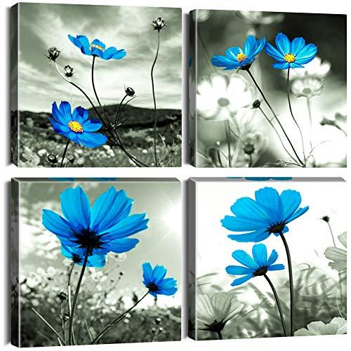 Artscope 4 Teilig Leinwandbilder mit Blaue Blumen Motiv Kunstdruck - Moderne Wandbild für Badezimmer Wohnzimmer Wanddekoration - 30 x 30 cm