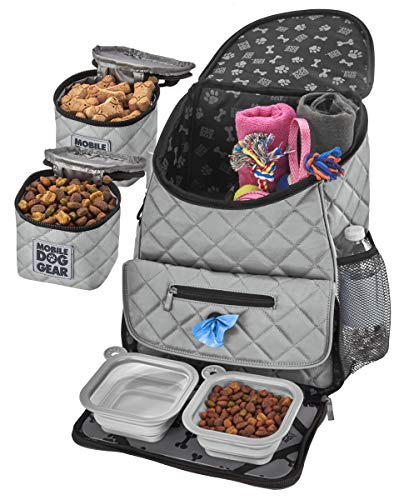 Mobile Dog Gear, Dog Travel Bag, Deluxe Quilted Weekender Backpack, Includes Lined Food Carriers and 2 Collapsible Dog Bowl, Gray