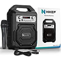 HIKEP Portable Rechargeable Bluetooth Karaoke Machine with Wired Microphone