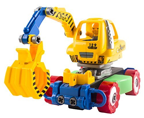 Educational RC Construction Remote Control Truck Excavator DIY Removable Take-A-Part Learn and Play Toy Playset w/ Lights & Music