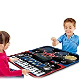 IUU Portable 2 in 1 Music Mat with Electronic Drum & Piano Keys,Musical Playmat with Volume Control,Foldable Touch Instrument Blanket,Interesting Educational Gifts Toys for Boys Girls Baby Kids