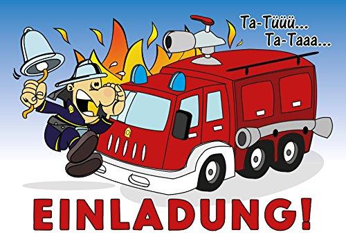 JamOnMedia 12-er Kartenset mit Feuerwehrauto, Blaulicht, Flammen und Einem Feuerwehrmann, Kindergeburtstag-Einladungskarten für die Geburtstags-Party