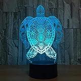 Lámpara 3D de tortugas marinas, luz táctil LED, 7 lámpara colorida, lámpara de mesa 3D para cumpleaños, regalo para niños, juguetes con luz nocturna LED