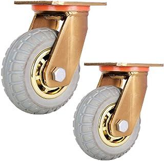 Zwenkwielen Heavy Duty 4/5/6 inch Silent Rubber Swivel Caster Wheel Vergulde beugel Trolley Flatbed Truck Casters 8 Inch i...