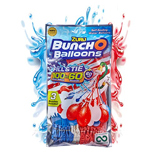 ---Bunch O Balloons 100 Rapid-Filling Self-Sealing Water Red, White & Blue Balloons (1 Pack of 3 different colors ) by Zuru, Red/White/Blue