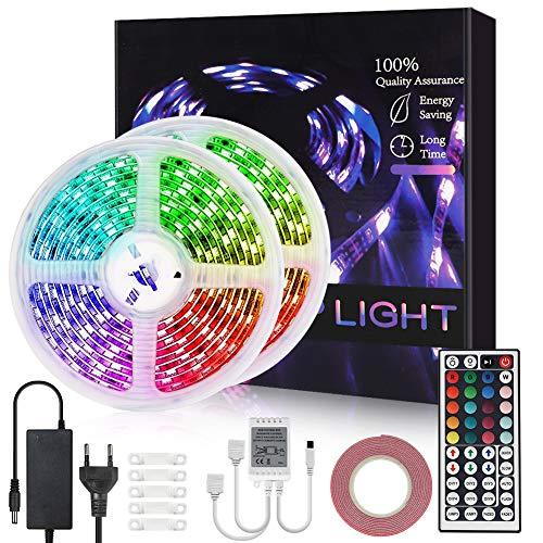 Opard LED Strip 10m Streifen RGB 44 Tasten IR Fernbedienung 5050 LED Streifesn für Schlafzimmer, Küche, Party, Festival Dekoration