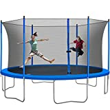 Tatub Kids Trampoline with Safety Enclosure Net, Spring Pad, Combo Bounce Jump Trampoline, Outdoor Trampoline for Backyard for Kids, Adults (Blue, 14Ft)